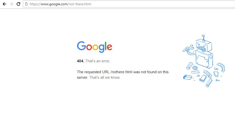 Google 404 Document Not Found